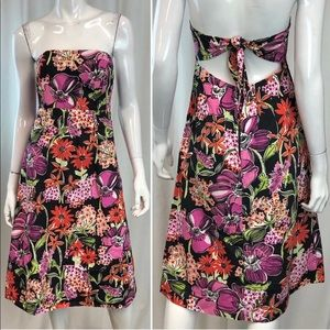 Lilly Pulitzer Floral Strapless Open Back Dress